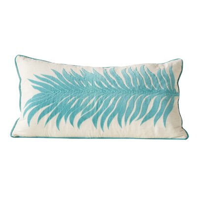 Hillcrest Heights Embroidered Palm Frond Lumbar Pillow