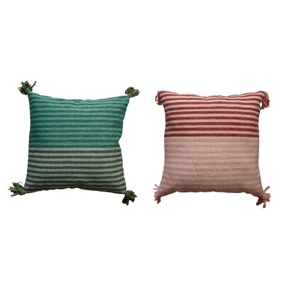 Eddins Square Striped Wool Kilim Throw Pillow