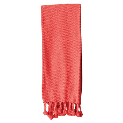 Waterside Cotton Throw Blanket Color: Red
