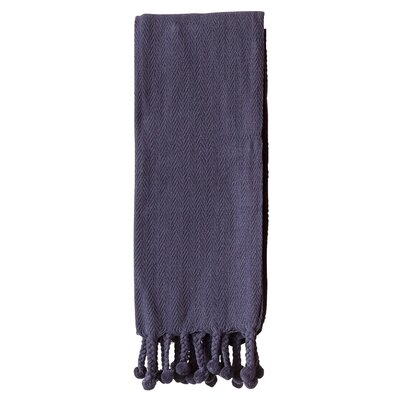 Waterside Cotton Throw Blanket Color: Navy