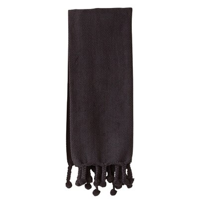 Waterside Cotton Throw Blanket Color: Black