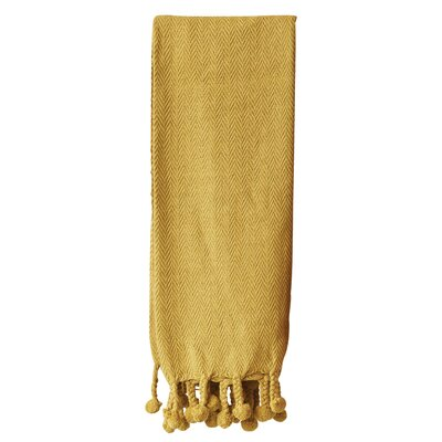 Havan Cotton Throw Blanket Color: Gold