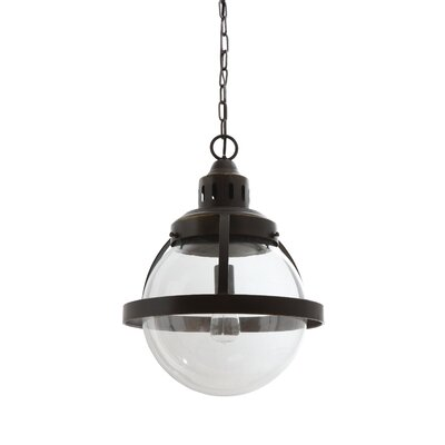 Dietricks Glass/Metal 1-Light Globe Pendant Size: 16.75 H x 16.5 W x 16.5 D