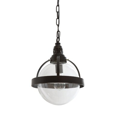Collected Notions Glass/Metal 1-Light Globe Pendant Size: 12.13 H x 11.88 W x 11.88 D