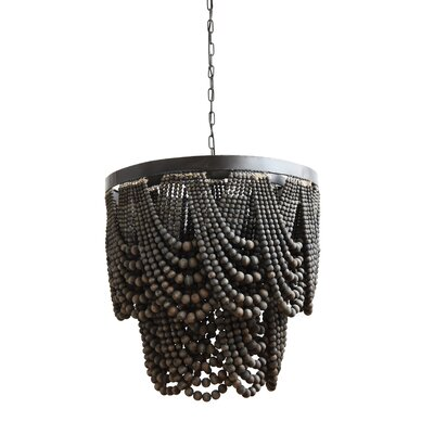Pure Metal/Wood 3-Light Empire Chandelier