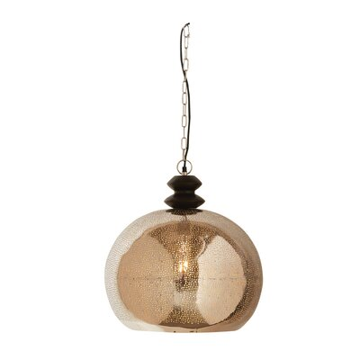 Canyon Grove Round Punched Iron/Mango Wood 1-Light Globe Pendant