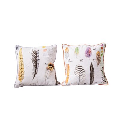 Rabin Square Printed 2 Piece 100% Cotton Throw Pillow Set