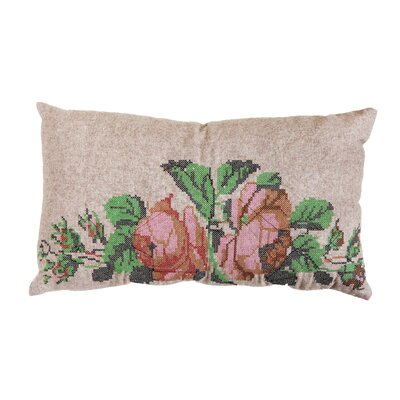 Needlepoint Flower Art Lumber Pillow