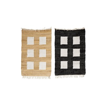 Tippecanoe 2 Piece Cotton Black/Tan Indoor Area Rug Set