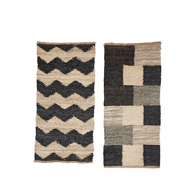 Fitzpatrick 2 Piece Cream/Black Area Rug Set