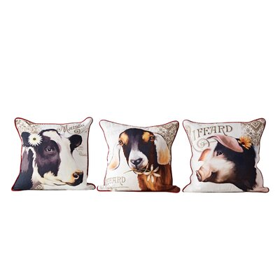 Mcconnell 3 Piece Barnyard Animal Throw Pillow Set
