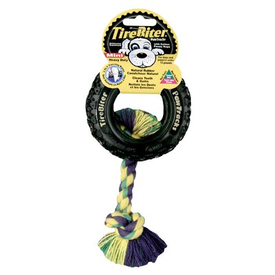 "Mammoth Pet Products Tire Biter Paw Track with Rope Dog Toy in Black - Size: Mini (3.5"" H) at Sears.com"