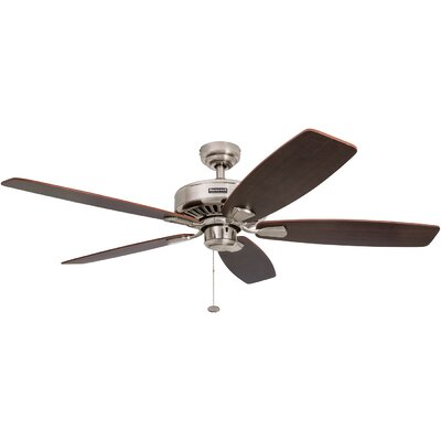 52 Sutton 5 Blade Ceiling Fan Finish: Brushed Nickel with Dark Elm Blades