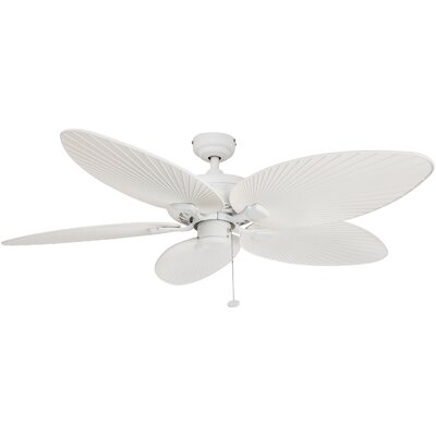 52 Island Palm 5 Blade Ceiling Fan Finish: White with White Blades
