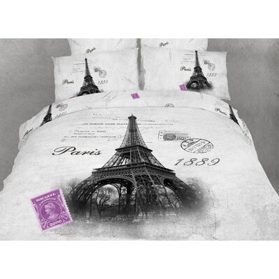 Novelty Paris Duvet Cover Set Size: King