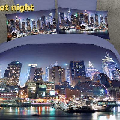 Dolce Mela NYC at Night 6 Piece Reversible Duvet Cover Set Size: King