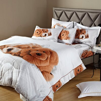 Doggies Duvet Cover Set Size: Queen