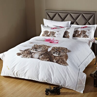 Baby Leopards Duvet Cover Set Size: Queen