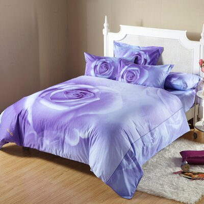 Midnight Rose 6 Piece Duvet Cover Set Size: King