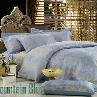 Dolce Mela Fountain Blue 6 Piece Duvet Cover Set Size: Queen