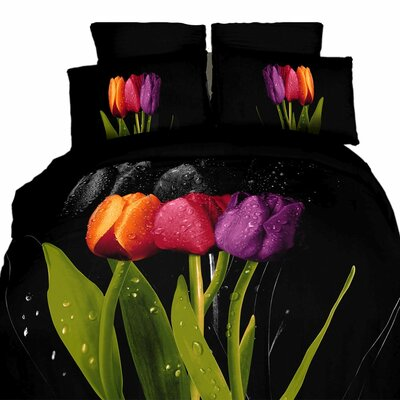 Tulipani 6 Pieces Reversible Duvet Cover Set Size: King