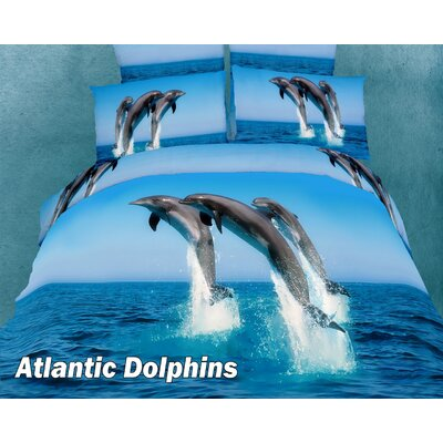 Atlantic Dolphins Cotton Duvet Cover set Size: Twin