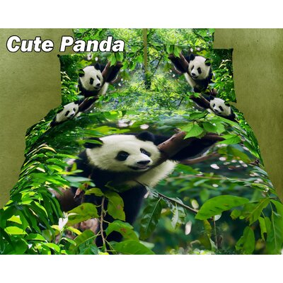 Cute Panda Cotton Duvet Cover Set Size: Full/Queen