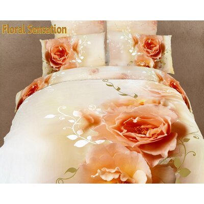 Dolce Mela Floral Sensation 6 Piece Duvet Cover Set Size: King