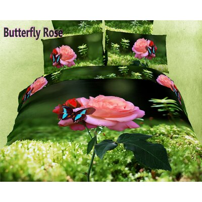 Dolce Mela Butterfly Rose 6 Piece Duvet Cover Set Size: Queen