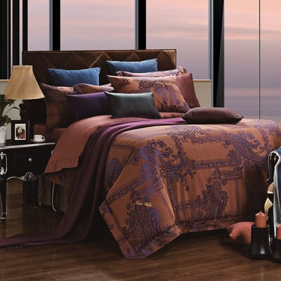 Dolce Mela 6 Piece Reversible Duvet Cover Set Size: King, Color: Calypso