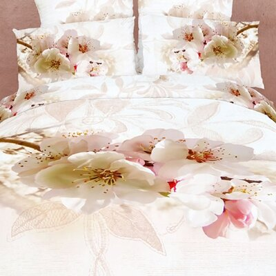 Dolce Mela Apple Blossom 6 Piece Reversible Duvet Cover Set Size: Queen