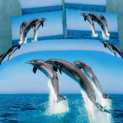 Dolce Mela Atlantic Dolphins 6 Piece King Duvet Cover Set