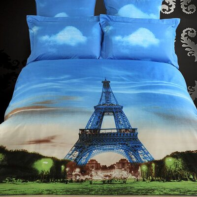 Eiffel Tower Paris Cotton 6 Piece Reversible Duvet Cover Set Size: King