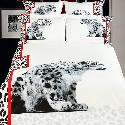 White Snow Loepard Duvet Cover Set Size: Full/Queen