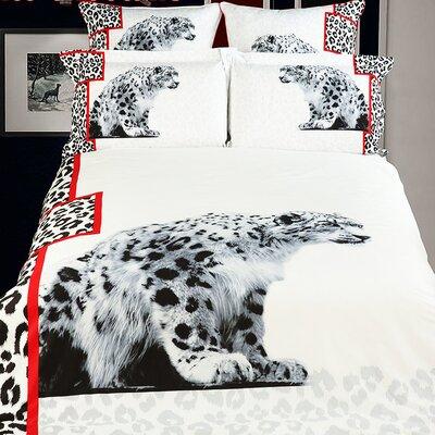 White Snow Loepard Duvet Cover Set Size: Twin