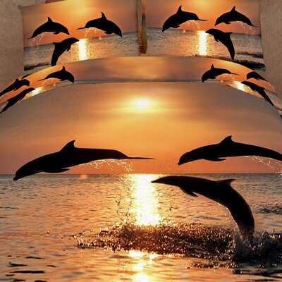 Pacific Sunset Dolphins 6 Piece Reversible Duvet Cover Set Size: King