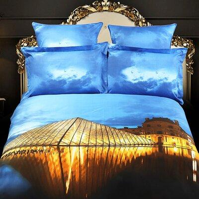 Louvre Paris Cotton 6 Pieces Reversible Duvet Cover Set Size: King