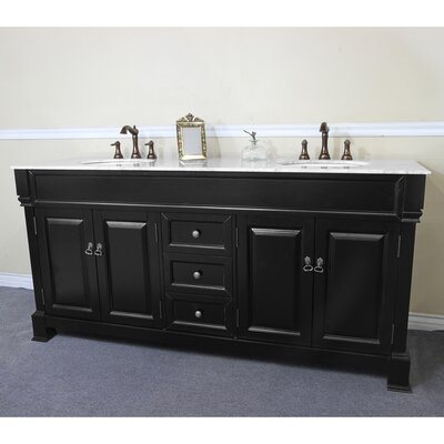 72 Double Bathroom Vanity Set Base Finish: Espresso, Top Finish: White Marble
