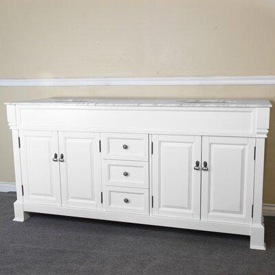 72 Double Bathroom Vanity Set Base Finish: White, Top Finish: White Marble