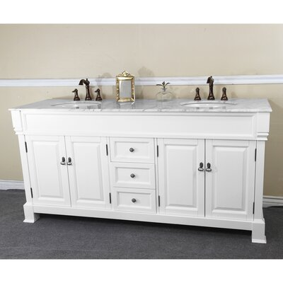 72 Double Bathroom Vanity Set Base Finish: White, Top Finish: White Marble