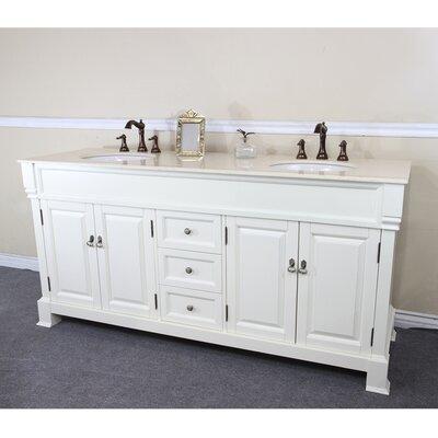72 Double Bathroom Vanity Set Base Finish: White, Top Finish: Cream Marble