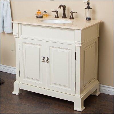 36 Single Sink Vanity Set Base Finish: Cream/White