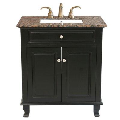 Dorchester 32 Single Bathroom Vanity Set Base Finish: Ebony, Top Finish: Baltic Brown