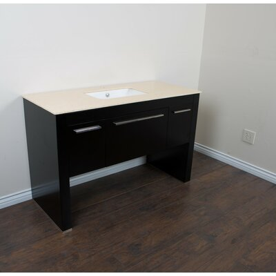 56 Single Sink Vanity Set Base Finish: Black/Cream