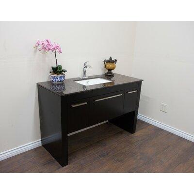 56 Single Sink Vanity Set Base Finish: Black/Tan Brown