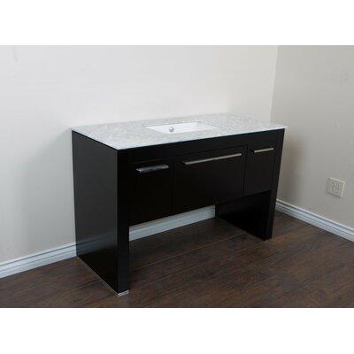 56 Single Sink Vanity Set Base Finish: Black/White
