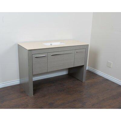 56 Single Sink Vanity Set Base Finish: Gray/Cream