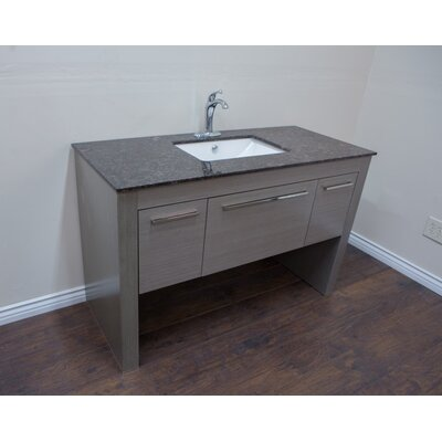 56 Single Sink Vanity Set Base Finish: Gray/Tan Brown