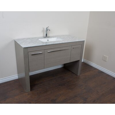 56 Single Sink Vanity Set Base Finish: Gray/White