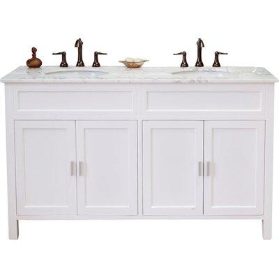 Jameson 60 Double Bathroom Vanity Set Base Finish: White